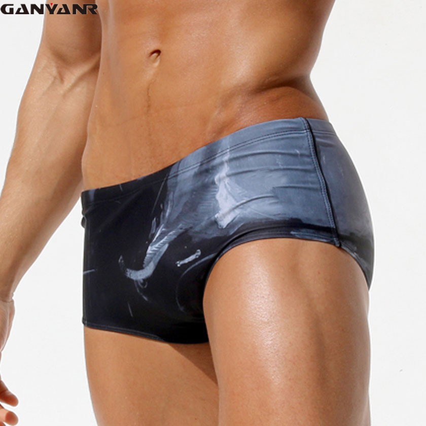 GANYANR Brand Gay <font><b>Men</b></font> Swimwear Swimming Trunks Plus Size <font><b>Sexy</b></font> Boardshorts Male <font><b>Swim</b></font> <font><b>Briefs</b></font> <font><b>Bikini</b></font> Sunga Brazilian Bulge Swimsuit image