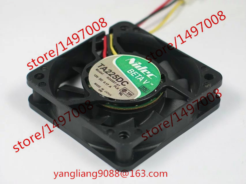 Free Shipping For Nidec H34587-57, PLS DC 12V 0.17A, 60x60x15mm 50mm, 3-wire 3-pin connector Server Square Cooling Fan free shipping for nidec r40w12bs2ca 57a05 43v6928 43v6929 dc 12v 0 84a 40x40x56mm 8 wire 6 pin connector server square fan