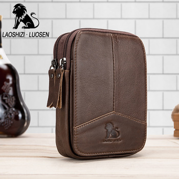 LAOSHIZI Hakiki Deri Bel Paketleri fanny paketi bel çantası Telefonu kılıflı çanta Seyahat Bel Paketi Erkek Küçük Bel Çantası Deri Çanta