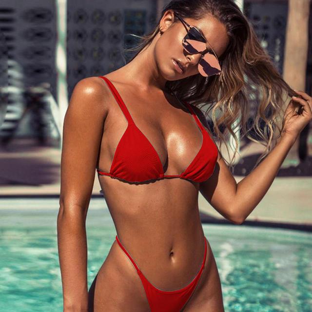 Sexy Thong Bikini Set Women Solid Swimwear Red Swimsuit Micro Bikinis Brazilian Biquini Pads Bathing Suit