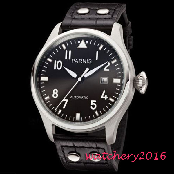 Newest Hot 47MM Parnis Black Dial Rivets Black Leather Strap Date Stainless Steel Case Sea Gull Automatic movement Men's Watches часы seagull sea gull m182sk hot