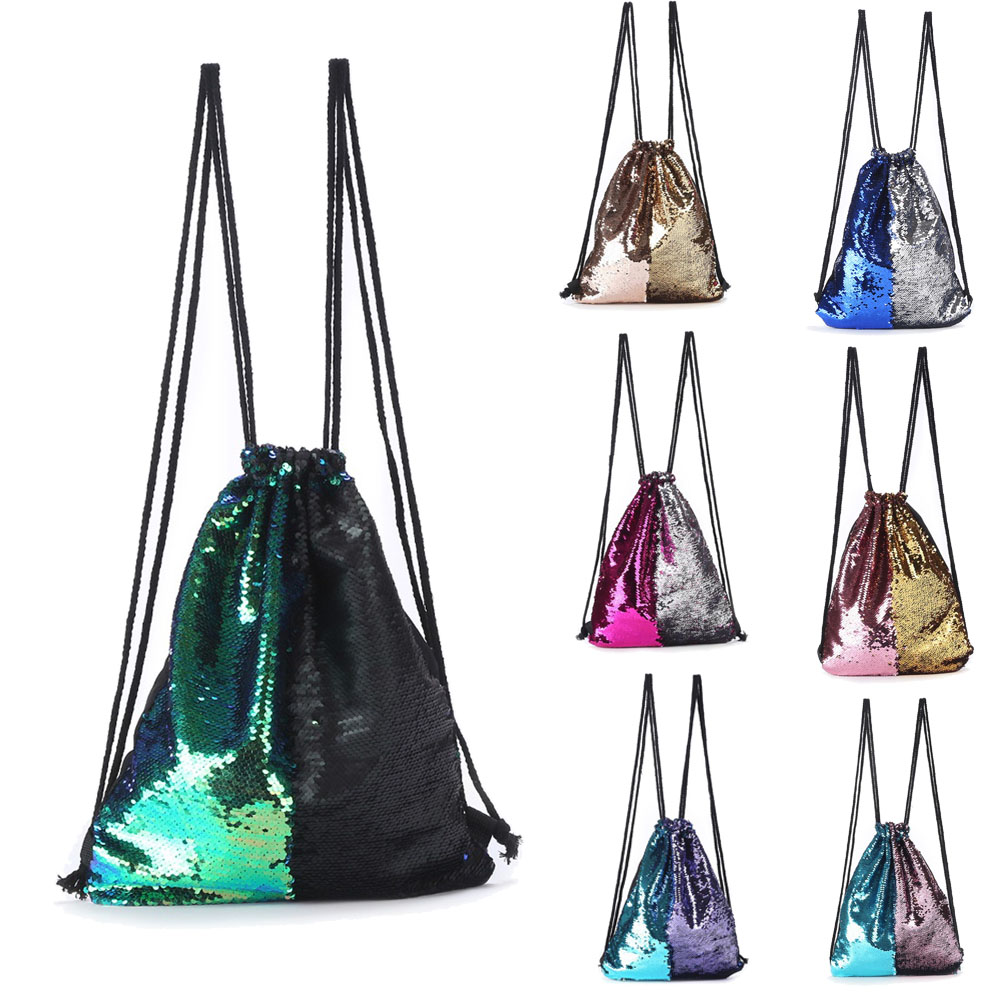 Detail Feedback Questions about Mermaid Sequin Backpack Glittering Shoulder  Bling Bags Reversible Glitter Drawstring Backpacks Women Beach Bag Jewelry  ...