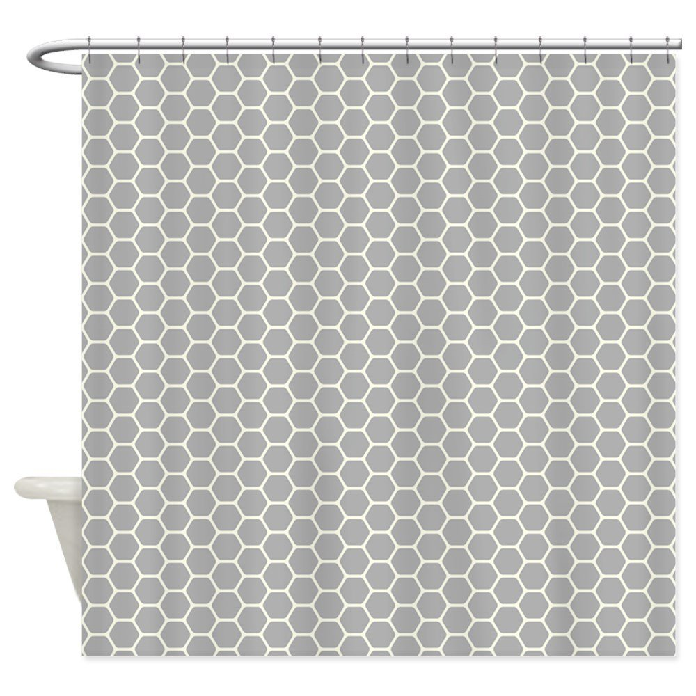 Grey Honeycomb Shower Curtain Decorative Fabric Shower