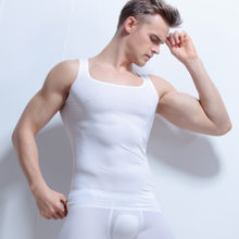 aa02f0de07298 WJ Men s Seamless Ultra-thin Ice Silk Home Wear Vest Tops   Tees Sling  Transparent Sexy Tank Tops(no Include Boxers)