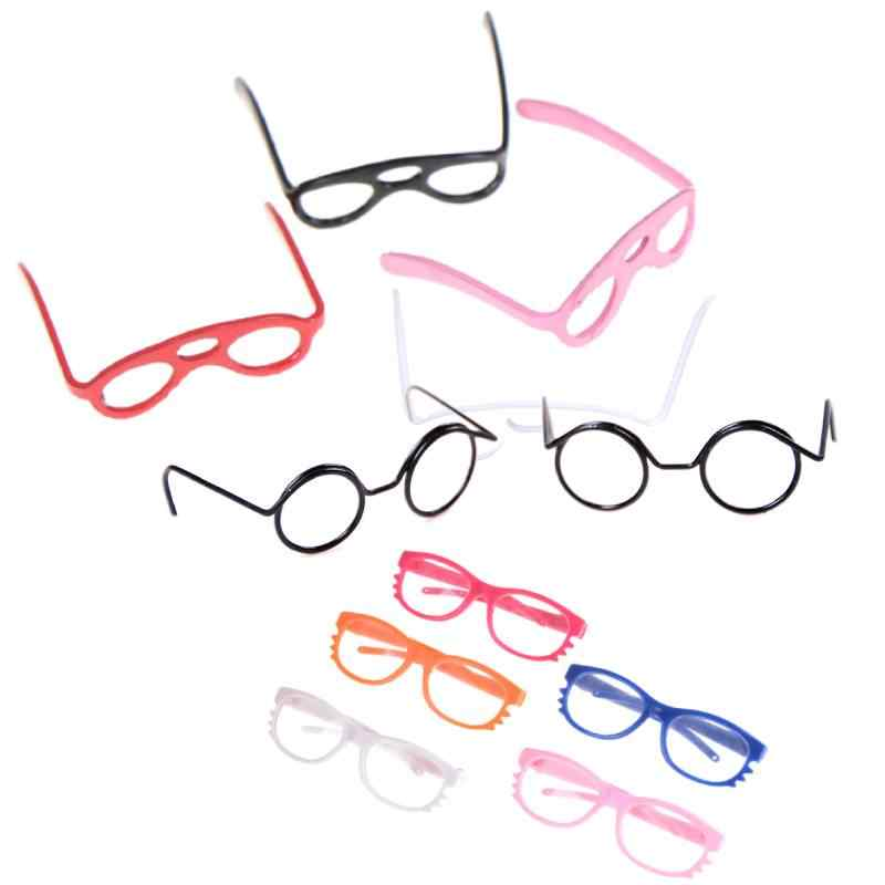 1:12 Scale Dollhouse Plastic Glasses Retro Round Frame Lensless Toys Vintage Doll House Miniature Accessories  Doll Accessories