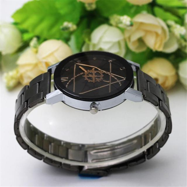 Full Steel Men's Watch Women's Watches Men Clock Gear Triangular Pointer Watch Compass Turntable Couple Lover Simple Wrist Watch