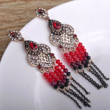 Blucome Turkish Style African Beads Tassel Large Pendant Earrings Vintage Resin Jewelry For Women Girls Party Bijoux Accessories(China)