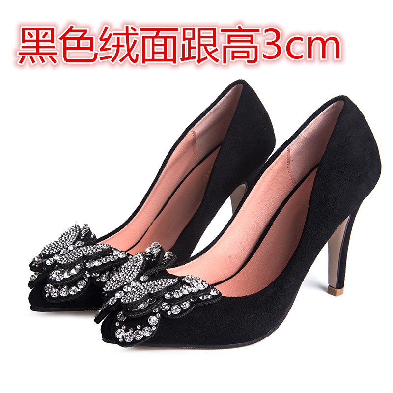 ФОТО Spring and autumn high-heeled pointed toe women's low-heeled shoes small yards 30 31 32 33 plus size 41 42 43 44 free shipping