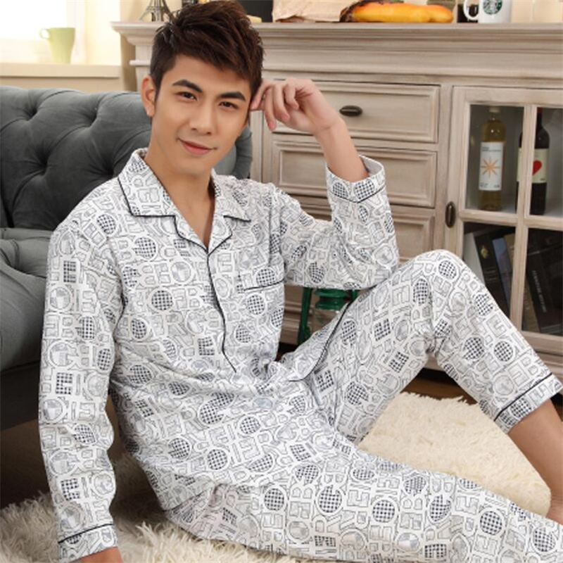 Men Pajama Sets Pants 3XL Cotton Spring Autumn Male Sleepwear Long-Sleeve Striped Lounge Wear Sleep Set Pants Shirts Plus Size