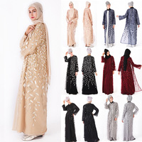 Muslim Sequins mesh cloth Party Maxi Dress Long Robe Gowns Tunic Kimono Middle East Ramadan Arab Islamic Prayer Clothing