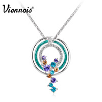 2015 Viennois Fashion Jewelry Platinum Plated Round Moon Blue Pendant Necklaces Austrian Rhinestone For Woman Summer