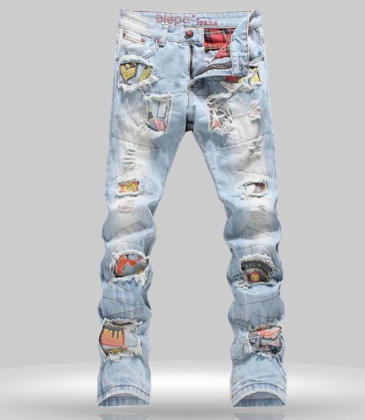 Мода Вырез Мужчины Лоскутные Джинсы Новый Тонкий Denim Trsouers