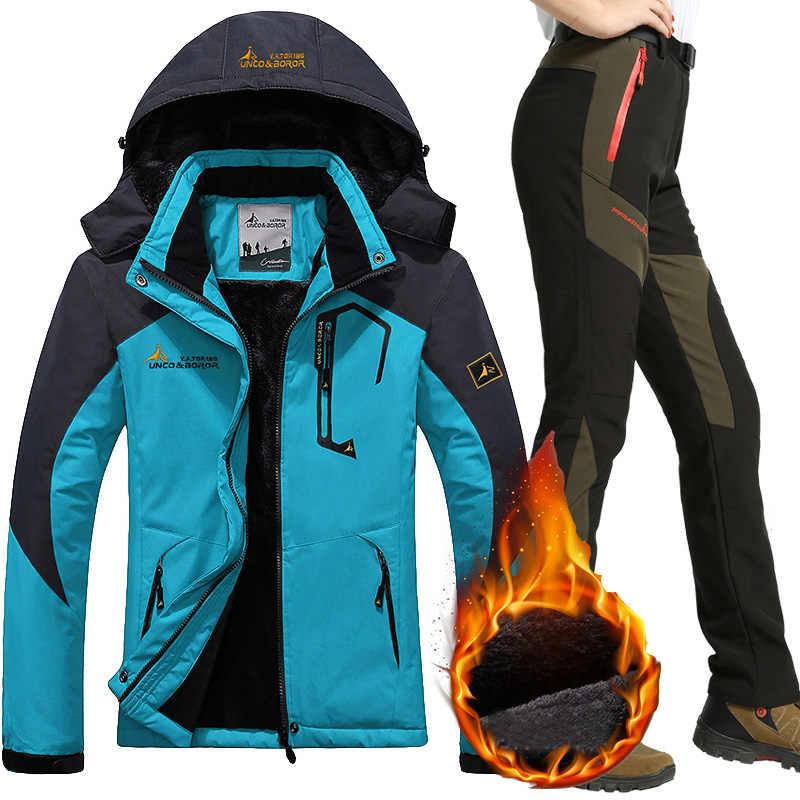Водонепроницаемый лыжный костюм Женская лыжная куртка брюки женские зимние уличные Горные лыжи снег сноуборд внутренняя флисовая куртка брюки
