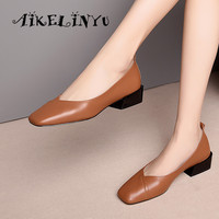 AIKELINYU 2019 Spring Classic Sewing Cow Leather Women Shoes Low Heel Square Head Simplicity Lady Office Comfortable Pumps Woman
