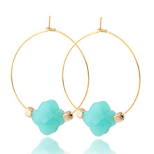 Four-leaf clover Earrings Natural stone earrings for women stainless steel brinco Crystal Earring Fashion Jewelry