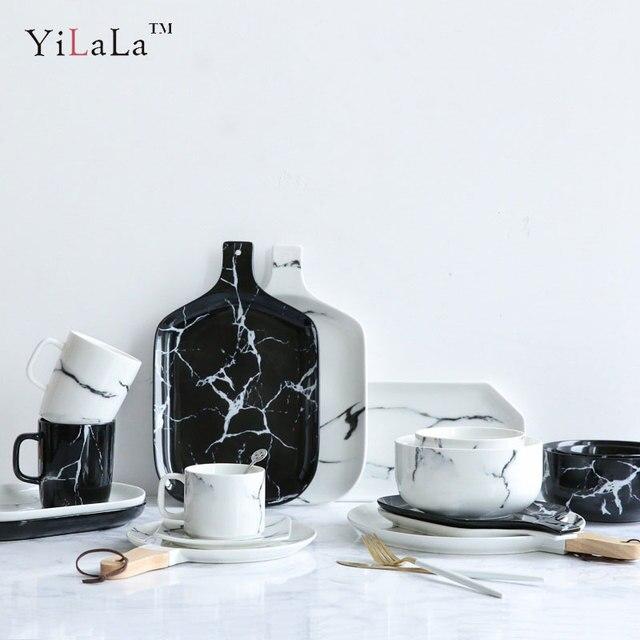 Yilala Ceramic Dishes Marble Bowl Porcelain Plates Creative Platter