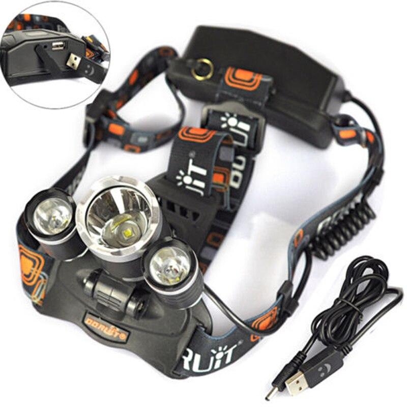 BORUIT 8000Lm 3x XM-L2 LED Headlamp 30W Headlight 2X18650 Head Torch+USB Charger Bicycle Cycling Bike Camping Portable Light