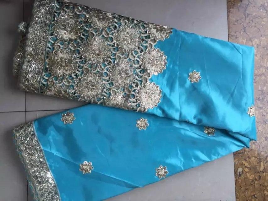 Tela africana George azul cielo alta calidad George encaje seda cruda george envoltorios 2017 telas de encaje Nigeriano para boda 5 yarda-in encaje from Hogar y Mascotas    1