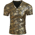 Hot 2016 Mens Summer Coated Henly Tshirt T-shirt Nightclub Gold Silver Metallic Shiny Floral Tees Shirt For Hip Hop  M-XXL H7303
