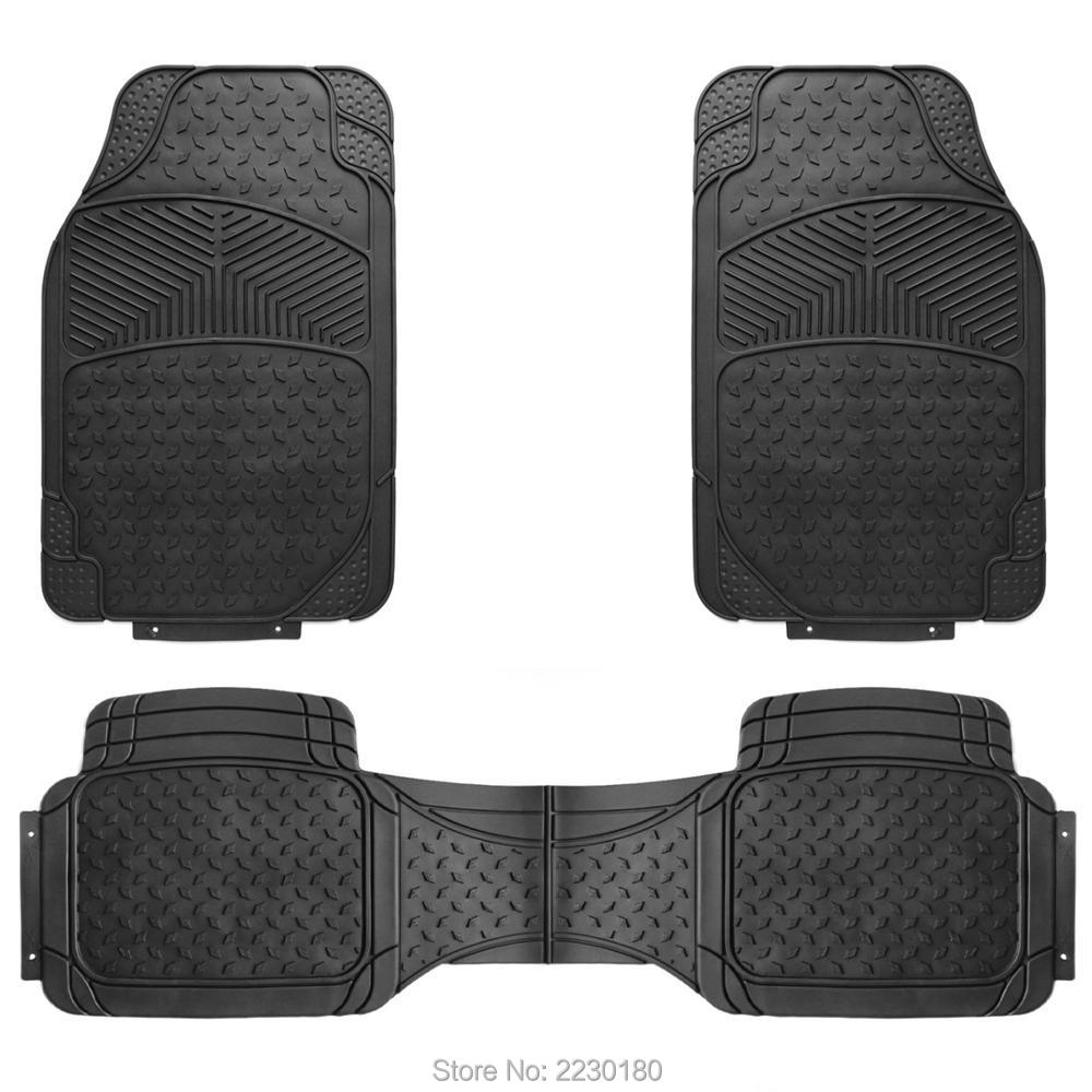 Rubber floor mats cheap - 3pcs Rubber Car Floor Mats All Weather Heavy Duty Universal Fit Front Amp Rear Trimmable
