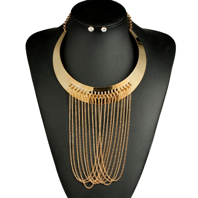 LUFANG Fashion Gold Color Jewelry Set Boho Collier Statement Maxi Necklace Punk Ethnic Big Crystal Power Choker Necklace Wome