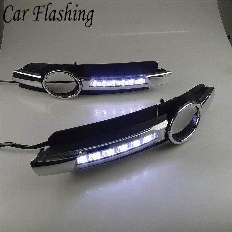 Auto Blinkende 1 satz Für AUDI A6 C6 2005 2006 2007 2008 LED nebel Drl Lichter Tageslicht nebel Lampe abdeckung loch drl