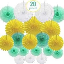 20 Pcs Per Set Tissue Paper Fan Flower Mint Green White Lemon Assorted Sizes Color Round Wedding Backdrop Hanging Decor