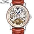 2016 top de luxo da marca mecânico automático relógio dos homens guanqin tourbillon pulseira de couro auto-vento esqueleto relógios de pulso para homens