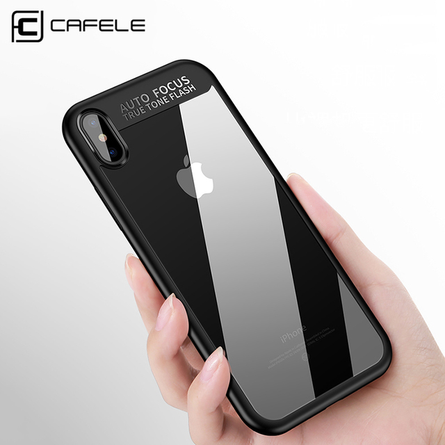 best service c9d64 3a473 US $4.99 |Cafele Original Phone Case for Apple iPhone X Clear PC Back + TPU  Edge Cover for iPhone X Black/Red/White/Blue/Pink-in Fitted Cases from ...