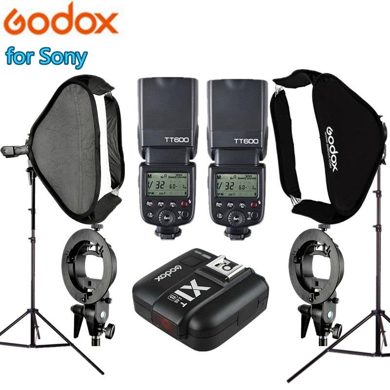 Godox TT600 caméra Flash X1T-S 60x60 cm Flash Softbox 2 m Kit de support de lumière avec support de Type S pour Sony Photo Studio Kit