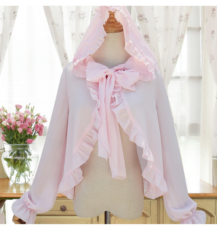 Sweet Long Sleeve Women's Hooded Chiffon Top Ruffled Chiffon Blouse