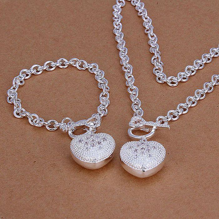 مجموعه جواهرات اندود نقره ، روکش نقره ای ، مجموعه جواهرات مد Inlaid Heart Key To / cixaaea ctuallba LKNSPCS025