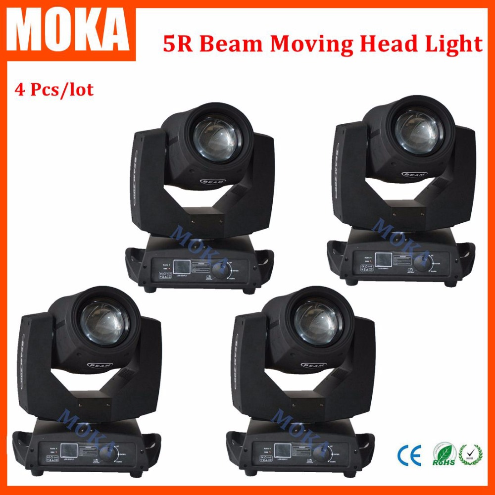 4 pcs/lot hot sale 200W Sharpy beam 5R moving head light LED sharpy 2r light 17 gobos big Touch screen for Stage Disco DJ Club