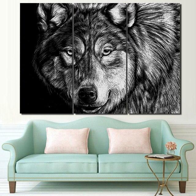 3 panel enmarcado HD impreso Lobo cartel blanco negro pared arte ...