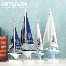 Mediterranean Nautical style Wood Blue Sail Boat Miniature Craft Mascot Home Decor Accessories Decorative Sea Wooden