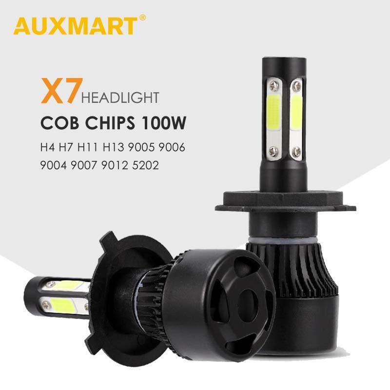 AUXMART H4 H11 9005 9006 H13 9004 9007 9012 <font><b>5202</b></font> COB светодиодный фары автомобиля лампы 100 Вт 10000lm 6500 К авто фары автомобиля лампочки