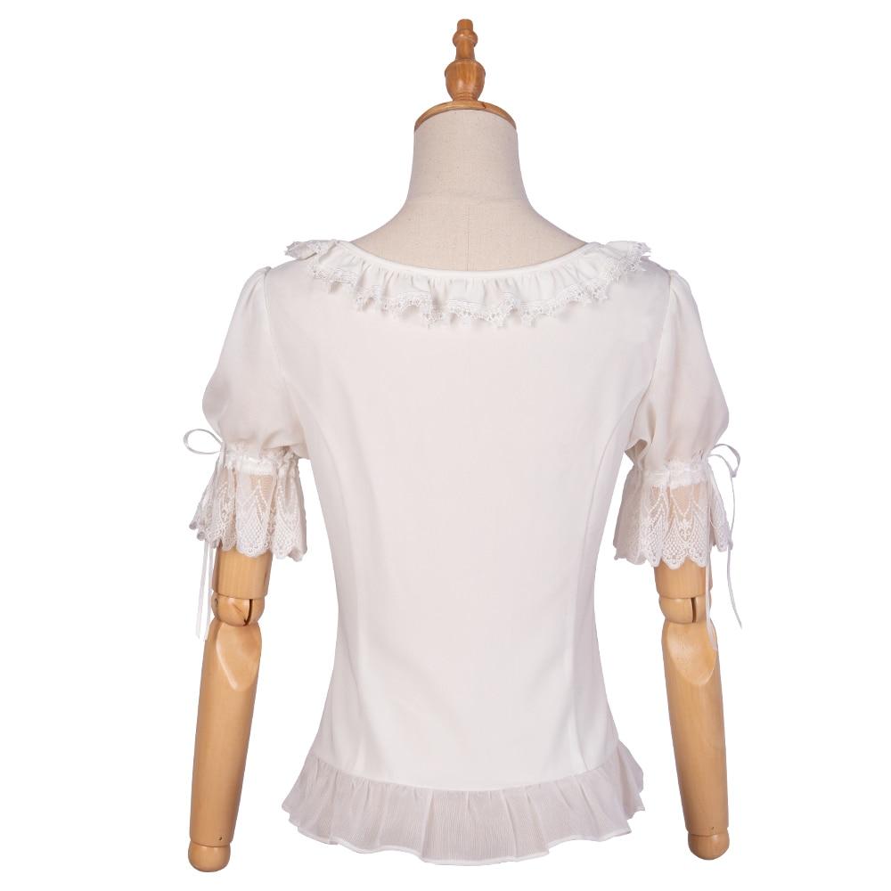 Chemise blanche manches courtes volants Lolita Blouse avec dentelle