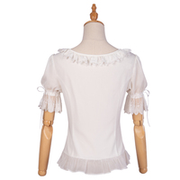 White Shirt Short Sleeve Ruffles Lolita Blouse With Lace