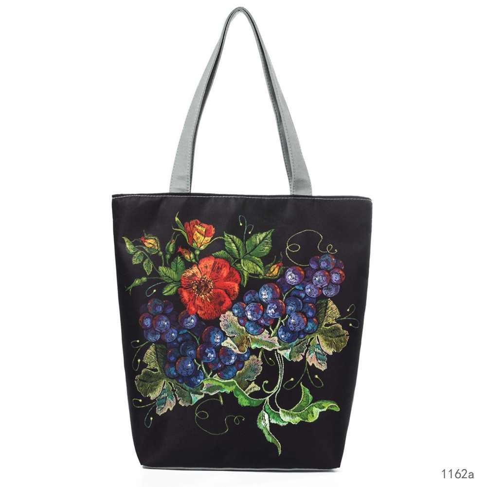 ... New Arrival Women Handbag Canvas Shoulder Bag Female Flower Birds  Printed Travel Beach Bag Shopping Crossbody ... 3962be1448