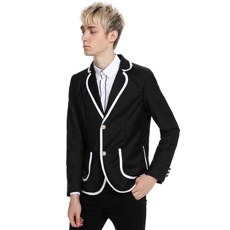 2019 Autumn Black Men Suit White Pants Prom Wear Custom Made Male Blazer Jacket Slim Fit Men Suits Casual Costume Party 2 Pieces