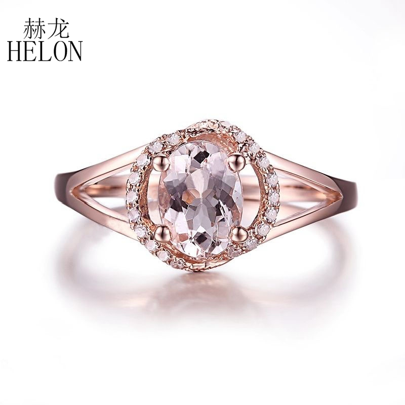 HELON Solid 10k Rose Gold Oval 7x5mm Morganite Natural Diamonds Gift Engagement Ring Wedding Gemstone Anniversary Diamonds Ring helon solid 10k rose gold oval cut 7x5mm morganite natural diamond ring engagement wedding gemstone ring gift jewelry setting