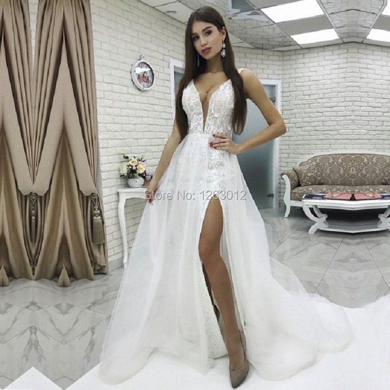 A Line Vestido de Noiva V Neck Sweep Train White Lace Wedding Dresses 2019 with Split