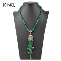 Luxury Vintage Long Tassel Pendant Necklace For Women Antique Gold Color Turkish Green Crystal Sweater Indian Bijoux