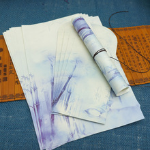 8 шт. конвертов+ 16 шт. бумажных букв)/набор сувениров в китайском стиле, подарок для письма, винтажная Ретро картина с древними чернилами, бамбуковый цветок