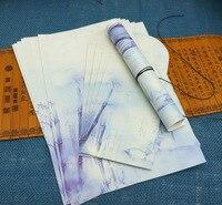 (8 шт. конверты + 16 шт. бумаги письмо) /комплект китайский стиль Сувениры подарок пишущих старинные ретро древний живописи тушью бамбук цветок