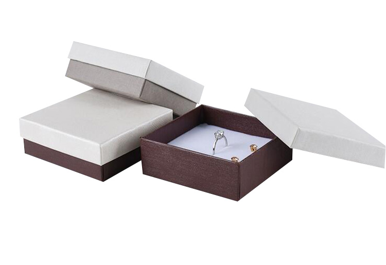 OEM LOGO Square Lid and Base Box Coffee Packaging for Necklace Ring Earring Gift Paper Box 8.5*8.5*3.1cm Wholesale 60pcs/lot