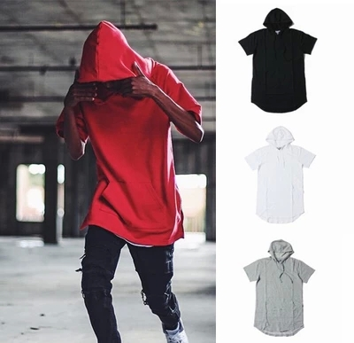 NEW Brand Hiphop Short Sleeve Hoodies Hooded t-shirt Lengthen Extended  oversized Ripped Damaged T shirt Half Hoody Men US SIZE 6d9dc3b62