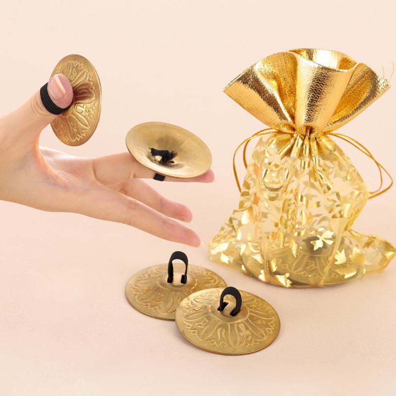 2 Pair(4 Pieces) Professional Women Bellydance Accessories Jewelry Copper Finger Cymbals Belly Dance Zills
