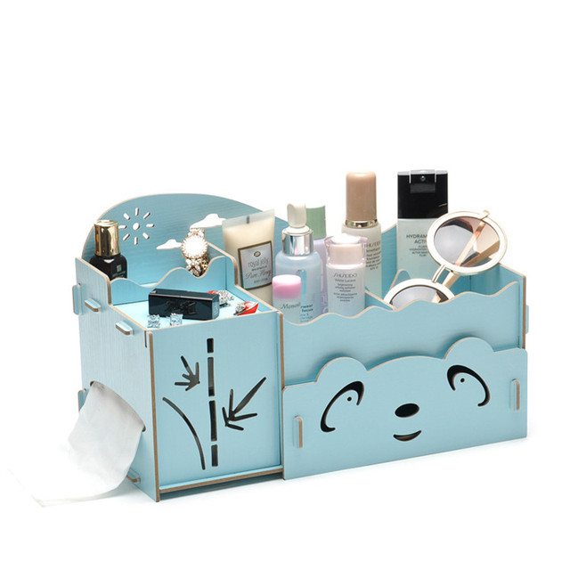 Kawaii Holz Make Up Veranstalter Panda Bambus Tissue Box Mode Frauen