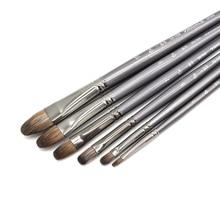 6 sztuk/zestaw profesjonalne wysokiej jakości narzędzie wiewiórka olejek do włosów pędzel do malowania pędzel Filbert Pen do malowania akrylowego art. No.